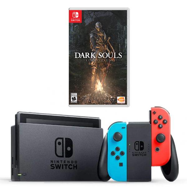 Игровая приставка Nintendo Switch (неоновый красный/неоновый синий) + Игра Dark Souls : Remastered (Nintendo Switch)