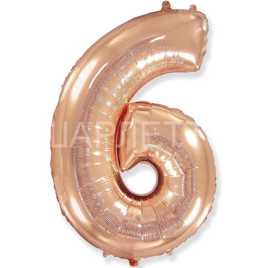 """Цифра """"6"""" розовое золото"""