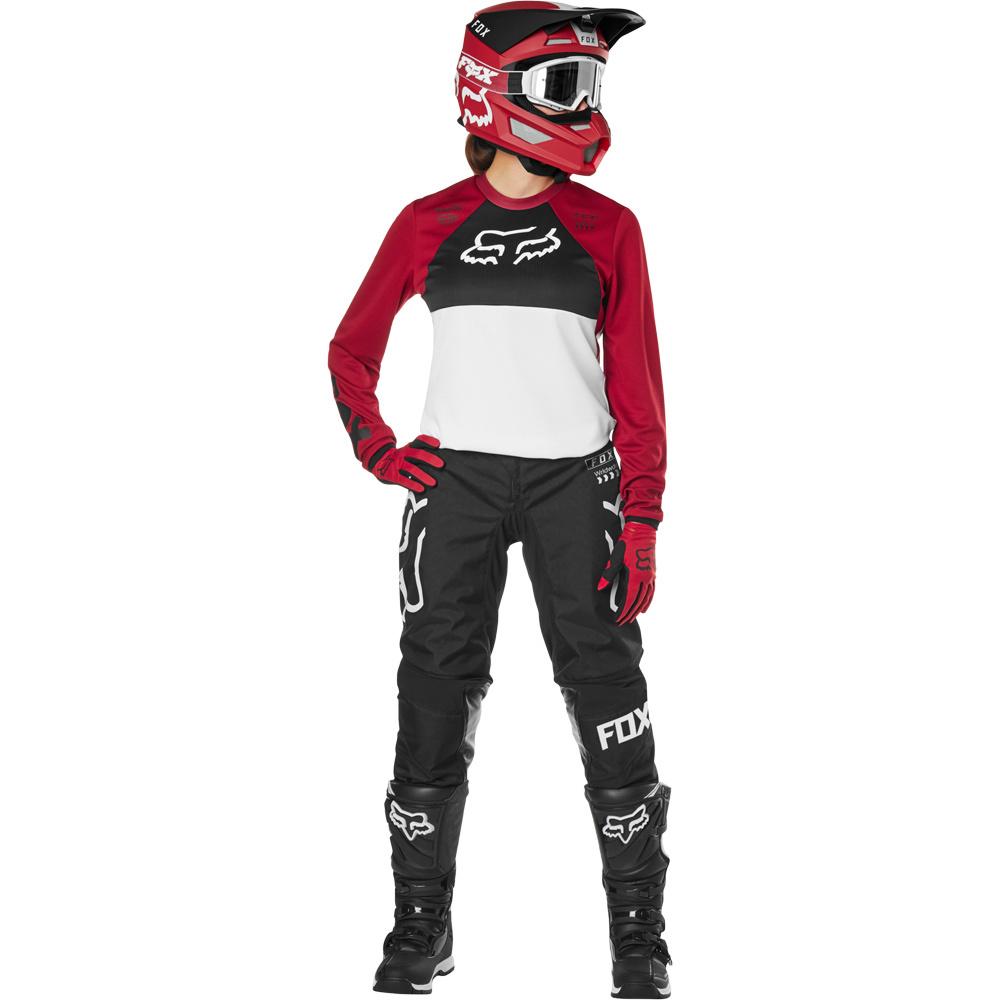 Fox - 2019 WMN 180 Mata Drip Cardinal комплект женский джерси и штаны, черно-красно-белый