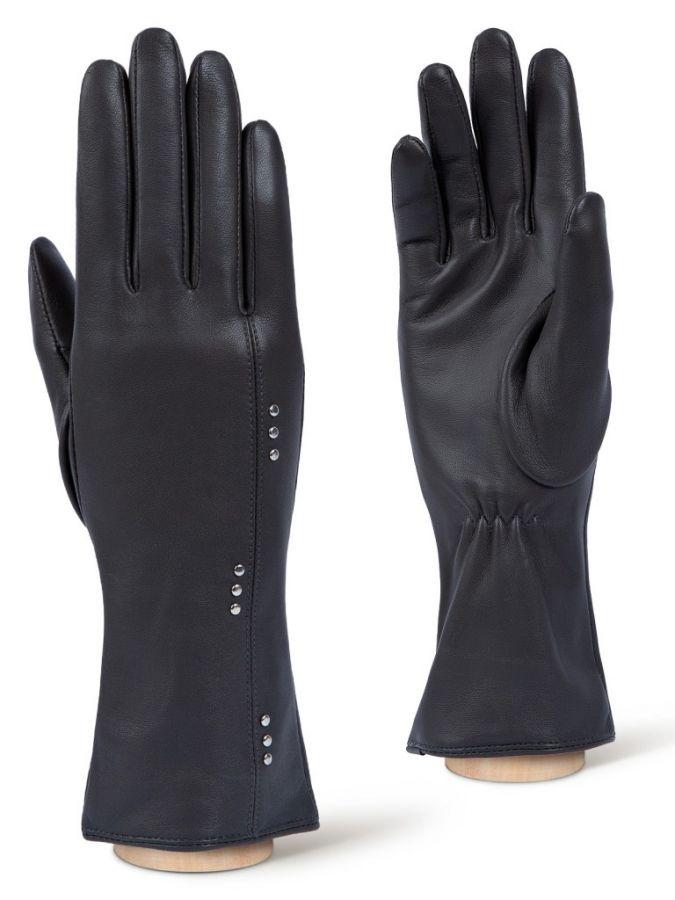 Кожаные серые перчатки ELEGANZZA