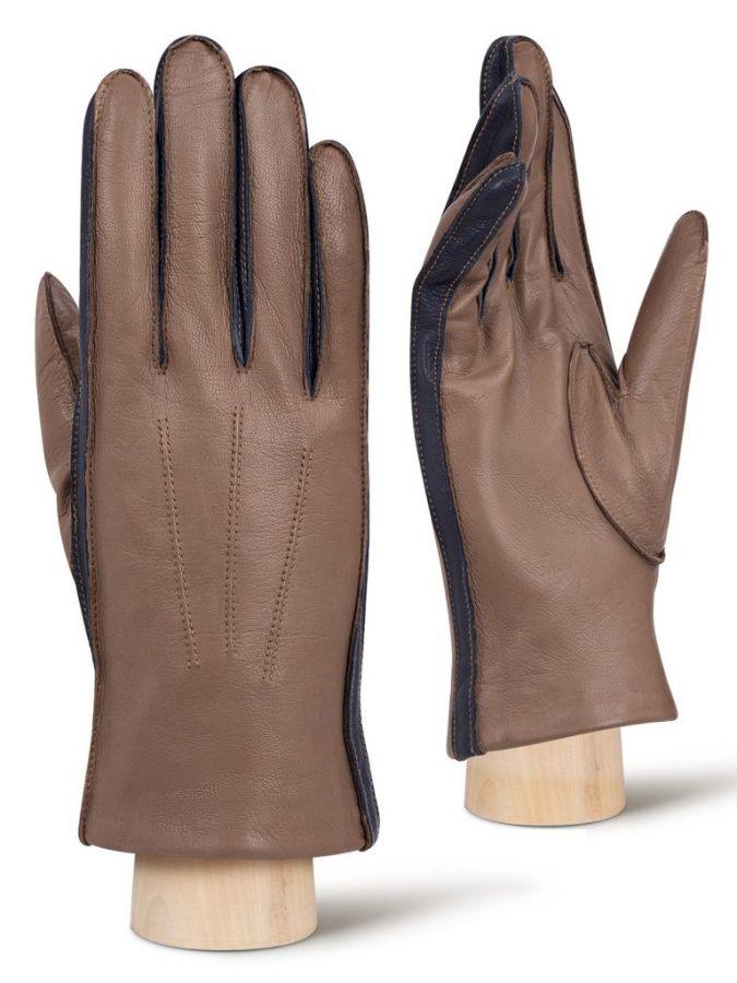 Серые мужские перчатки ELEGANZZA