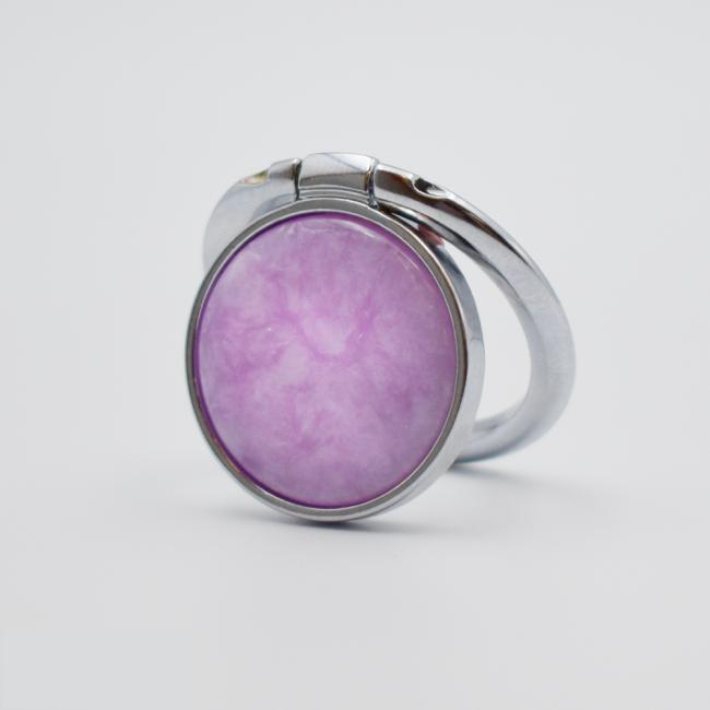Кольцо-держать для смартфона Сиреневый мрамор с серебристым ободком