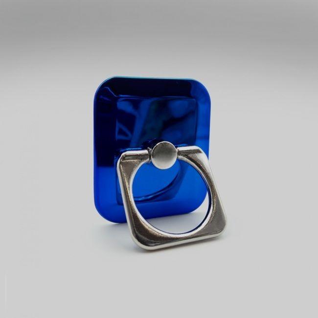 Кольцо-держатель для телефона квадратное синее