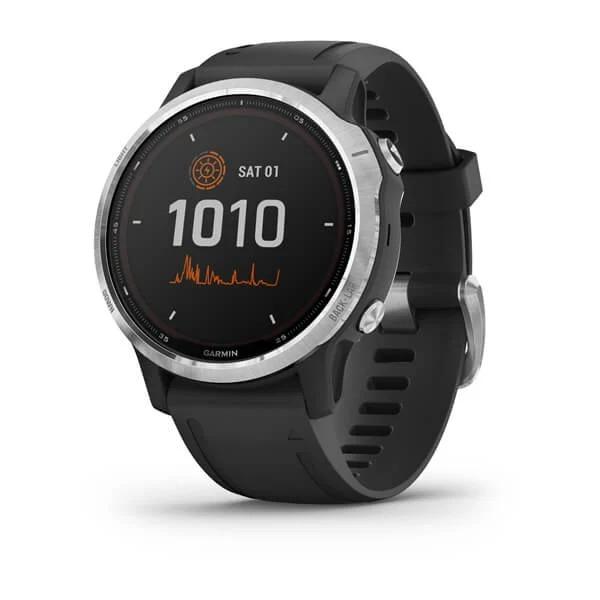 Часы Garmin Fenix 6S серебристый с черным ремешком