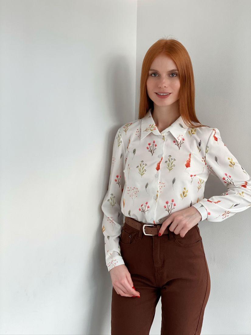 s2876 Рубашка белая с примитивным дизайном