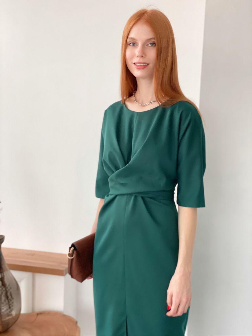 s2885 Платье с перекрутами изумрудное