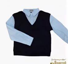 Рубашка для мальчика для школы с жилеткой (имитация)