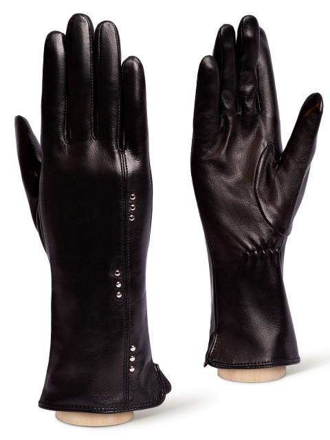 Кожаные Черные перчатки ELEGANZZA