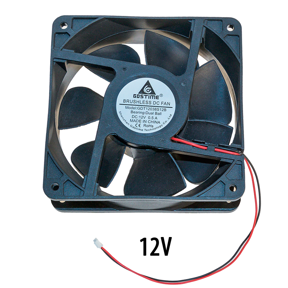Осевой вентилятор корпусной 120х120х38мм 12В