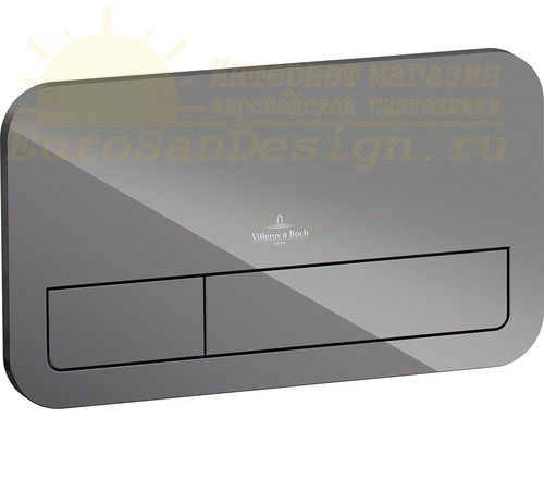 Клавиша двойная смывная стеклянная Villeroy&Boch M200 922400RA серый