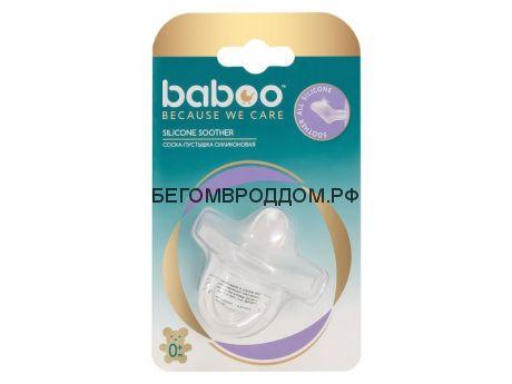 Соска-пустышка силиконовая скошеннная, цельнолитая. 0+/Baboo