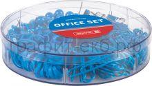 Набор канц.принадл.Brunnen Color Code зажимы,гвоздики,скрепки,резинки синий 20647-33