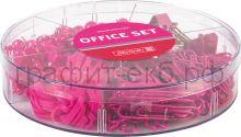 Набор канц.принадл.Brunnen Color Code зажимы,гвоздики,скрепки,резинки розовый 20647-26