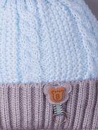 РБ 17814/17817 Шапка вязаная для мальчика на завязках, на сером отвороте мишка