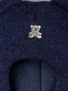 РБ 21853/21849/21845/21842 Шапка-шлем вязаная для мальчика с ушками, нашивка мишка