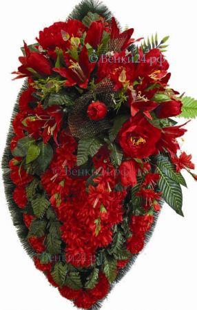 Фото Ритуальный венок из искусственных цветов - Элит #6 красный из лилий, гвоздик и зелени