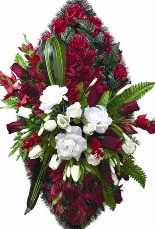Фото Ритуальный венок из искусственных цветов - Элит #7 красный из гвоздик и роз