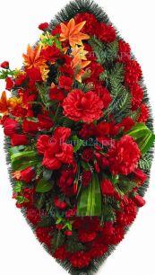 Фото - Ритуальный венок из искусственных цветов - Элит #46 красный из роз, хризантем и зелени