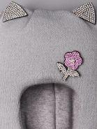 РБ  00-0014742 Шапка-шлем вязаная для девочки, с ушками, цветочек из страз, серый