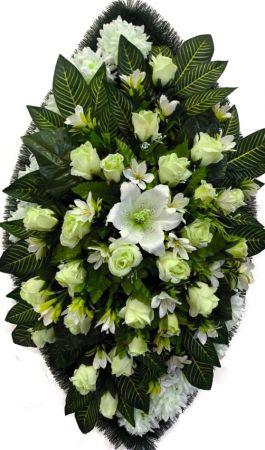 Фото Ритуальный венок из искусственных цветов - Элит #11 белый из роз, лилий, хризантем и зелени