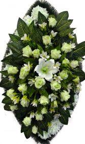 Ритуальный венок из искусственных цветов - Элит #11 белый из роз, лилий, хризантем и зелени