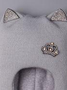 РБ  00-0014829 Шапка шлем для девочки с ушками, корона со стразами, серый