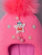 РБ 14815 Шапка-шлем вязаная для девочки с помпоном, нашивка звездочка с глазками, фуксия
