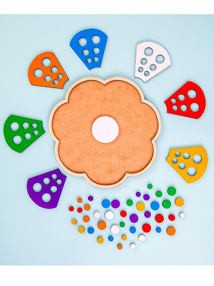 Сортер по цвету, мозаика цветик семицветик, развивающая игра