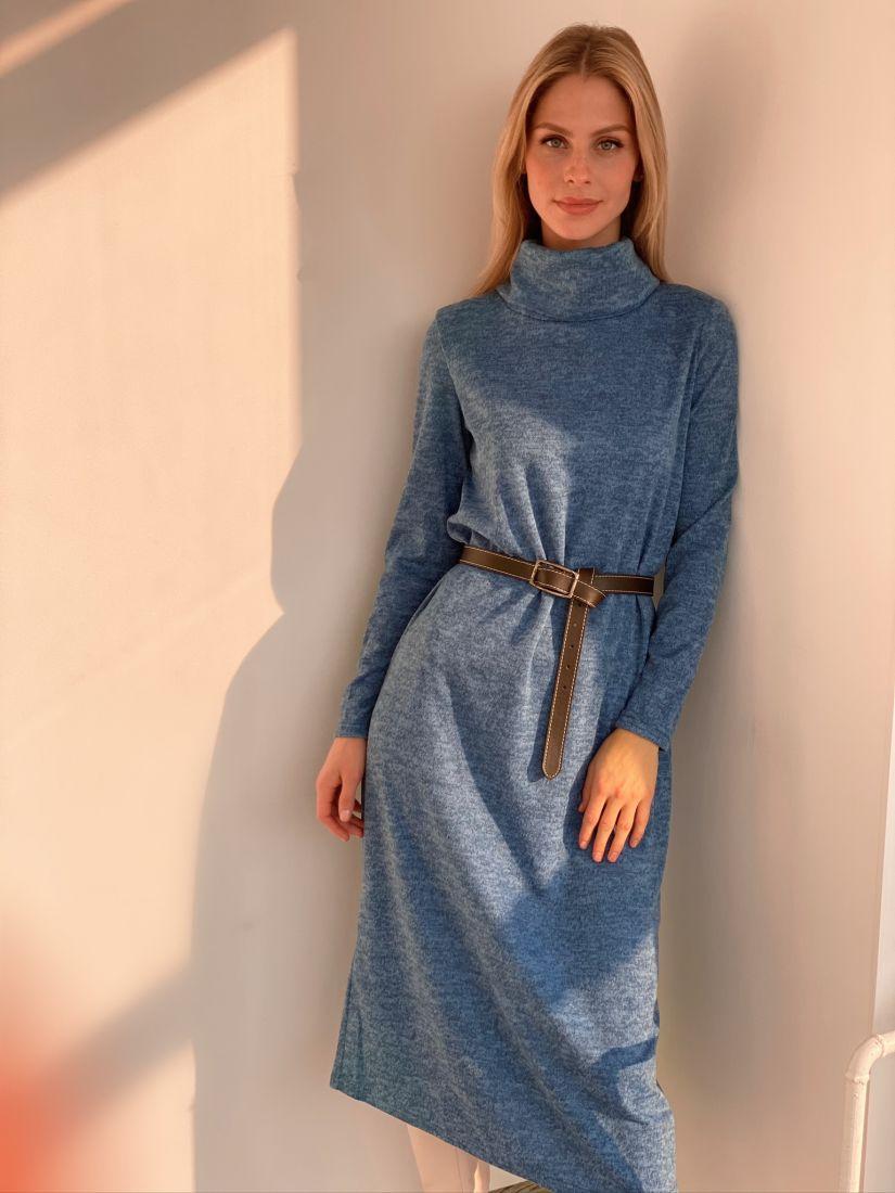 s2917 Платье-свитер голубое