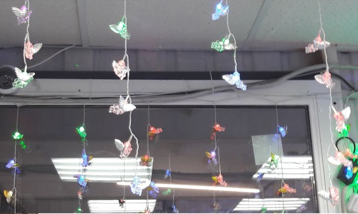 Гирлянда штора АНГЕЛЫ с золотыми крылышками 50 л 4 м