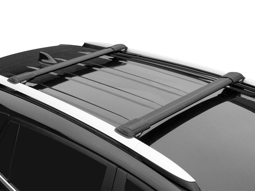 Багажник на рейлинги Kia Mohave, Lux Hunter L46-B, черный, крыловидные аэродуги