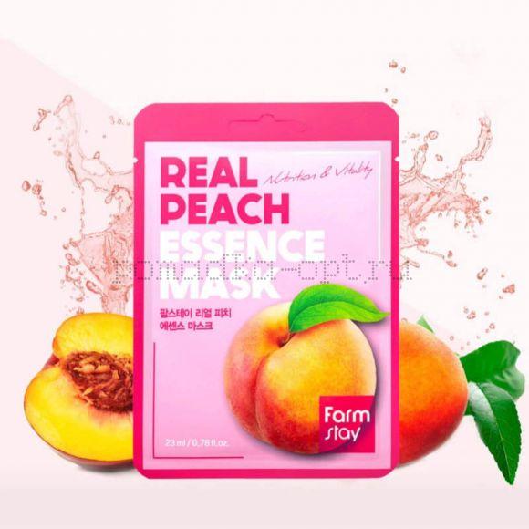 FarmStay Real Peach Essence Mask Тканевая Маска Персик 23 мл
