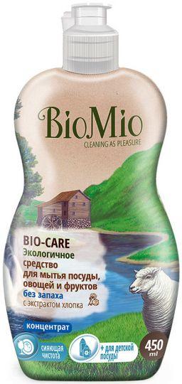 Bio-Mio средство для мытья посуды, овощей и фруктов Bio-Care с экстрактом хлопка и ионами серебра без запаха 450 мл