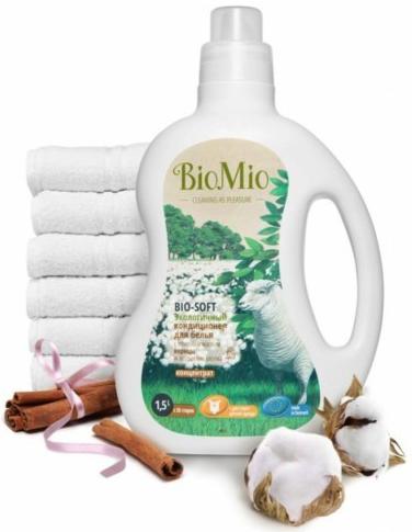Bio-Mio кондиционер для белья Bio-Soft с эфирным маслом корицы и экстрактом хлопка 1,5 л