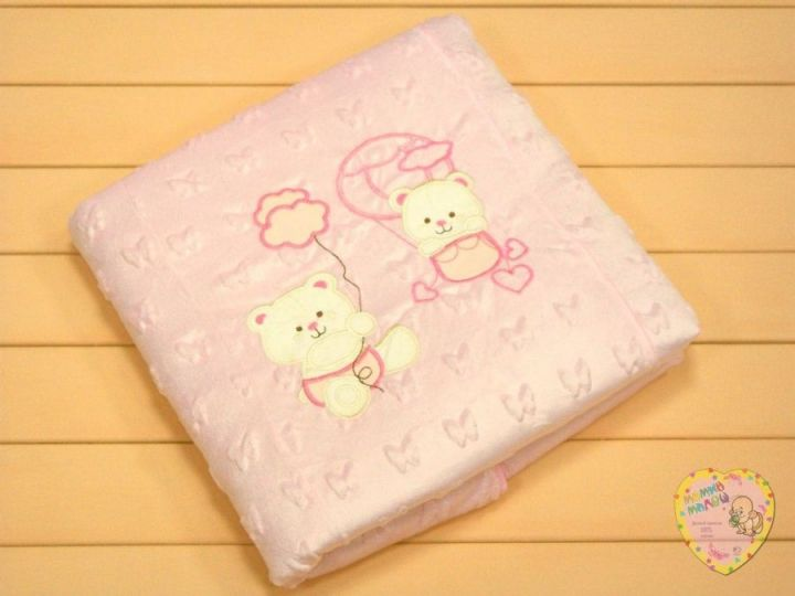 Плед с вышивкой V-PO009-VLj(ITp) (велюр-жаккард, розовый)