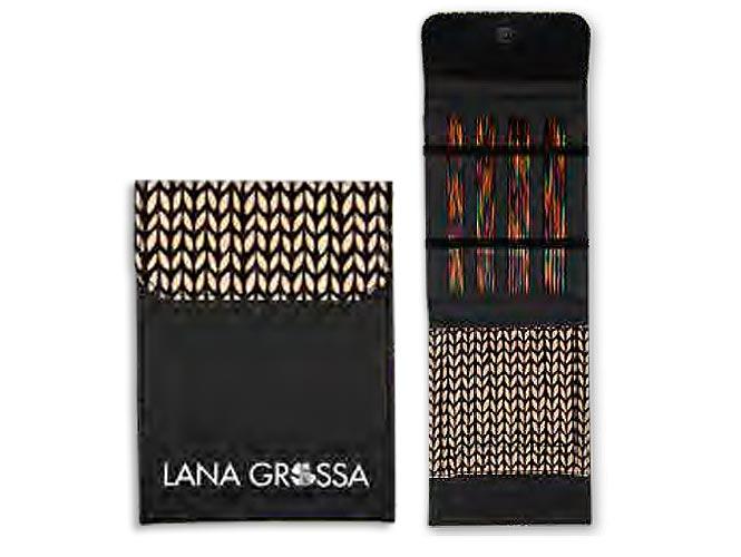 Набор чулочных спиц 15 см Lana Grossa, малый (дерево, Simfony, ткань), цвет черный