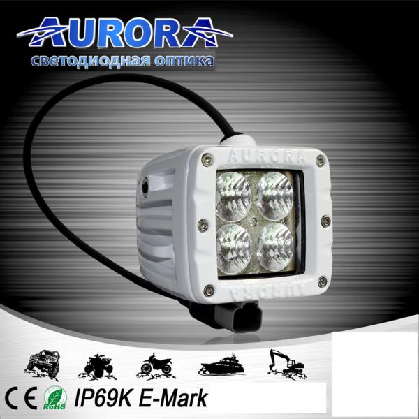 Квадратная светодиодная фара рабочего света 40W AURORA ALO-M-2-E4T (белый корпус)