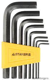 """Набор STAYER Ключи """"MASTER"""" имбусовые короткие, Cr-V, сатинированное покрытие, пластик. держатель,"""