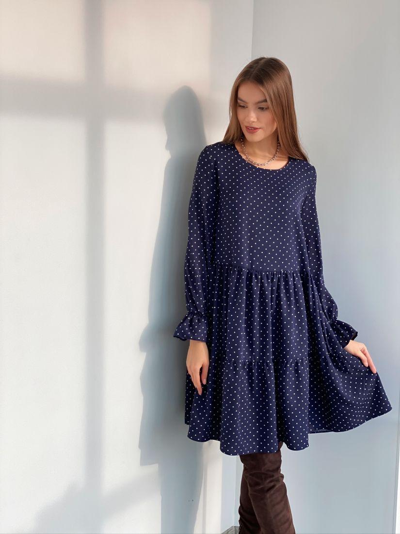 s3117 Платье трёхъярусное в горох синее