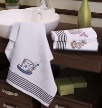 """Комплект  вафельных полотенец """"KARNA"""" FLORS 40x60 - 3 шт.  Арт.3029"""
