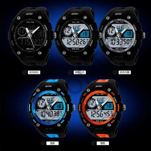 Часы наручные Skmei 1015 двойное время подсветка будильник Высокое качество Водонепроницаемые !