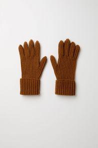 кашемировые вязаные перчатки мужские с подворотом (стёжка кардиган) ,100% драгоценный кашемир, цвет Тёмный Верблюжий DARK CAMEL CARDIGAN STITCH