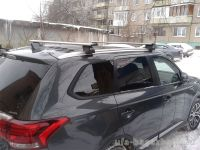 Багажник на интегрированные рейлинги Mitsubishi Outlander III, Евродеталь, крыловидные дуги