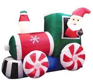 """Надувная фигура """"Санта на паровозе"""" (120 см,150 см)"""
