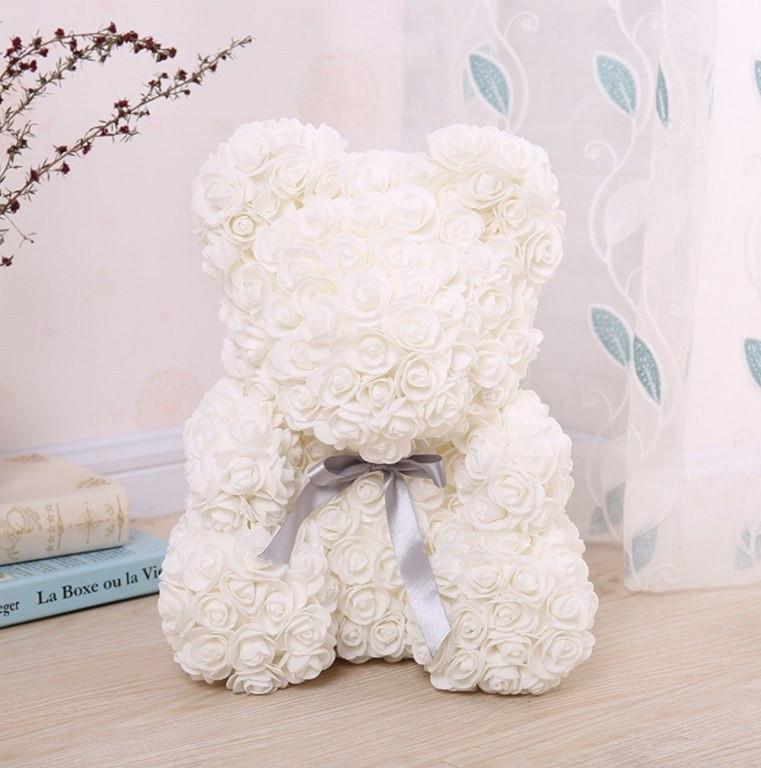 Мишка из роз с бантиком 3D 40 см белый