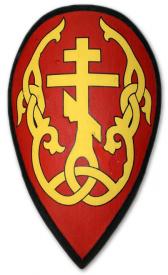 """Щит каплевидный """"Расцветший Крест"""" красный"""