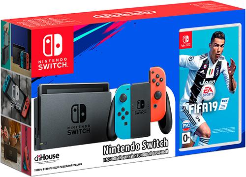 Игровая приставка Nintendo Switch (неоновый красный/неоновый синий) + Fifa 19