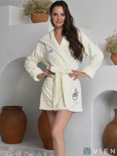 Женский бамбуковый халат Mia крем