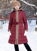 зимнее бордовое пальто