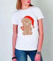 Новогодний медведь белая футболка женская